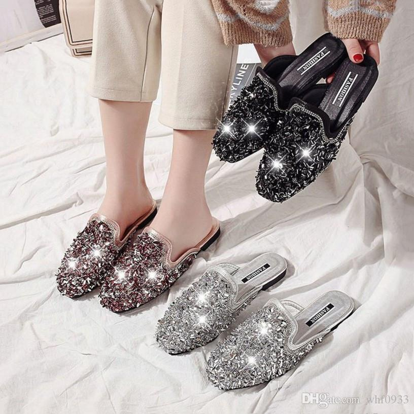 9c6a31aa86 Special Sales Korean style fashion women's sandals diamond casual brand new  flat heel Square toe slippers snug PU leather D325 for girls hot