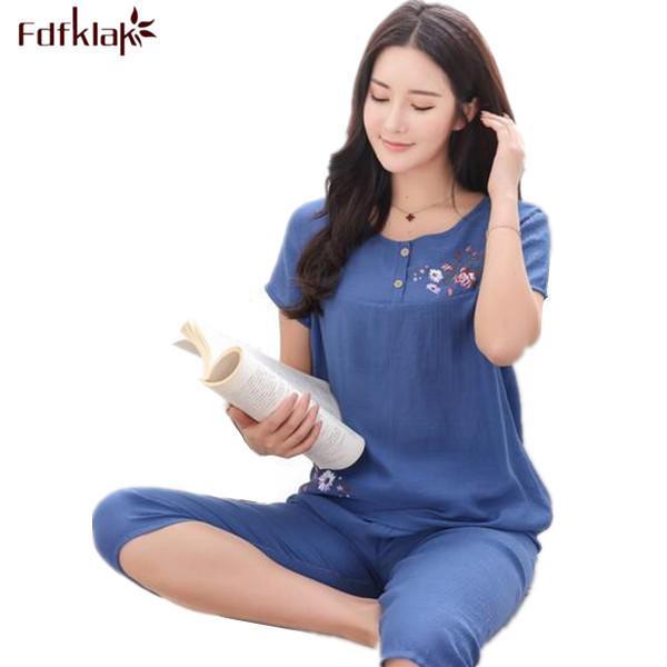 b4084d93f 2019 Fdfklak Summer Pajamas Short Sleeve Print Ladies Cotton Nightwear  Sleep   Lounge Pyjama Set Linen Pijamas Plus Size Xl 4xl Q191 C19040901  From ...
