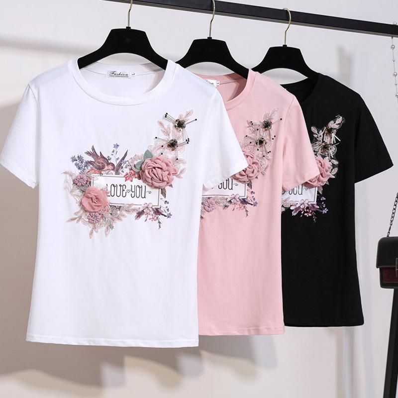 9a5b5a41dafa2 Women 2019 Summer TShirt Stylish Fashion Short Sleeve Embroidery Appliques  Beaded Bird 3D Flowers Tops Female White T Shirt Design Tee Shirts T Shirt  Funny ...