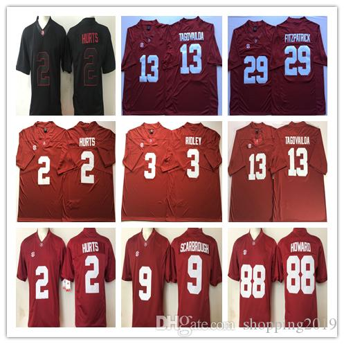 new style a1a01 ab6e5 NCAA Mens Alabama Crimson Tide #9 Bo Scarbrough 2 HURTS 3 RIDLEY 13  TAGOVAILOA 29 FITZPATRICK 88 Howard College Football Jerseys