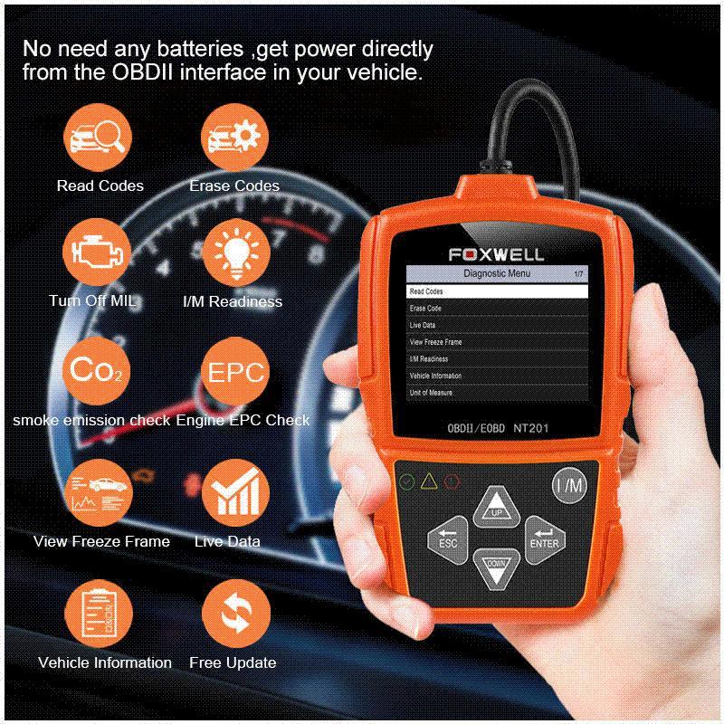 Foxwell NT201 OBD2 OBD Auto Scanner Automotive OBDII Engine Fault Code  Reader Diagnostic Tool ODB2 Car Diagnosis PK ELM327 OBD 2