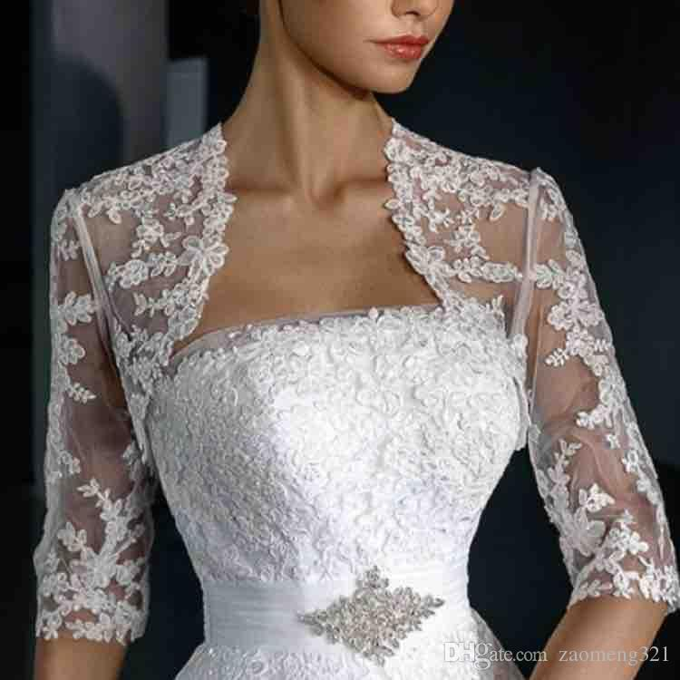 2019 Elegant Appliques Lace Sleeveless Cathedral Train Wedding Bridal Wraps Sheer Jewel Neck Wedding Bridal shawl