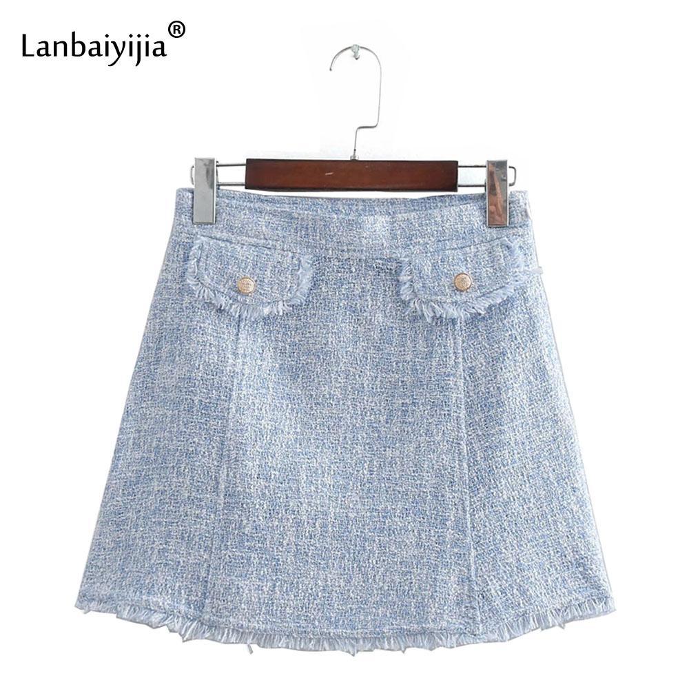 70f0993cef2 2019 Lanbaiyijia Newest Autumn Fashion Tweed Skirts Fake Pocket Decoration  Women Skirt Solid A Line Skirt Slim Mini S M L From Zhonshan