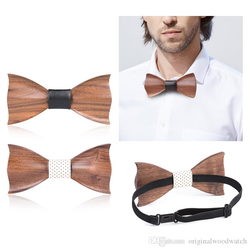 f426aa94e78e Wood Bow Tie Mens Handmade Wooden Bowties Personalized Butterfly ...