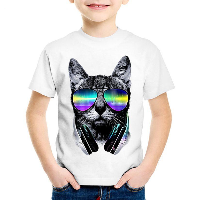 Kinder Mode Druck 3d Coole Dj Katze Lustige T Shirts Kinder Tiere Sommer Kleidung Lässige Tops Baby Tees Für Jungen Mädchen Hkp129