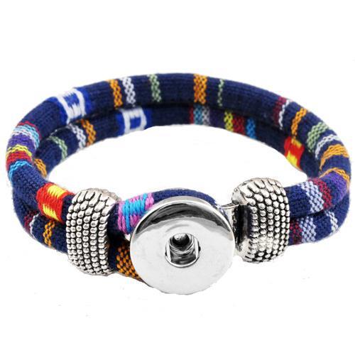Rivca joyería bohemio personalizado trenzado pulsera de cuero para mujer 18 mm botón a presión pulseras brazaletes hombre P00010