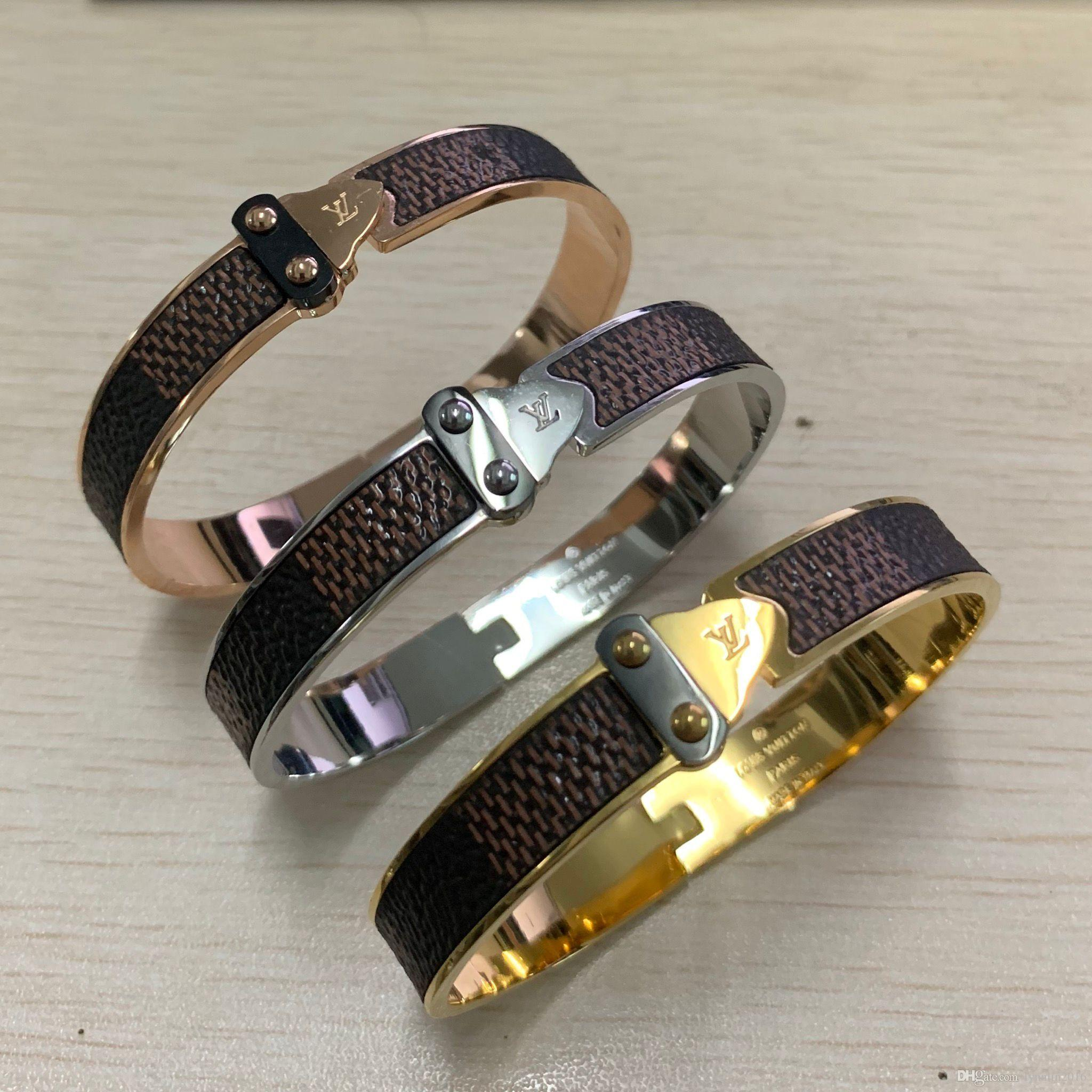 High quality famous Brand 316 L stainless steel 18k silver gold rose super brown checkers leather men women 19cm arrow bracelets & bangles