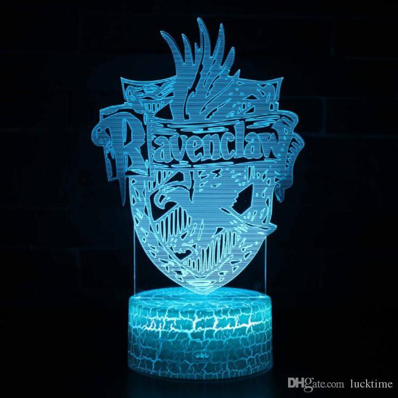Novelty RGB change 3D Night Light Discoloration Magic School LED lights illumination Bedroom Decor Kids toys Table Lamp