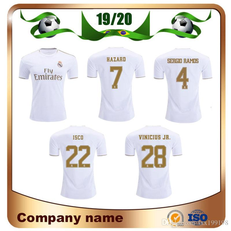 2019 Player Version Real Madrid Soccer Jersey 19/20 Home HAZARD KROOS MODRIC RAMOS Maillot de foot MARCELO ASENSIO ISCO uniforme de football
