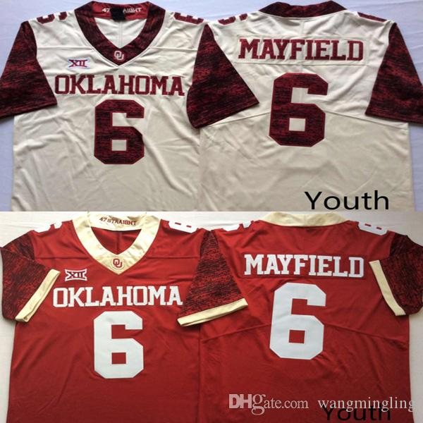 new products b8c3c 2d51e Youth #6 Baker Mayfield college Oklahoma Sooners jerseys red white kids  boys size football jersey stitched free shipping mix order