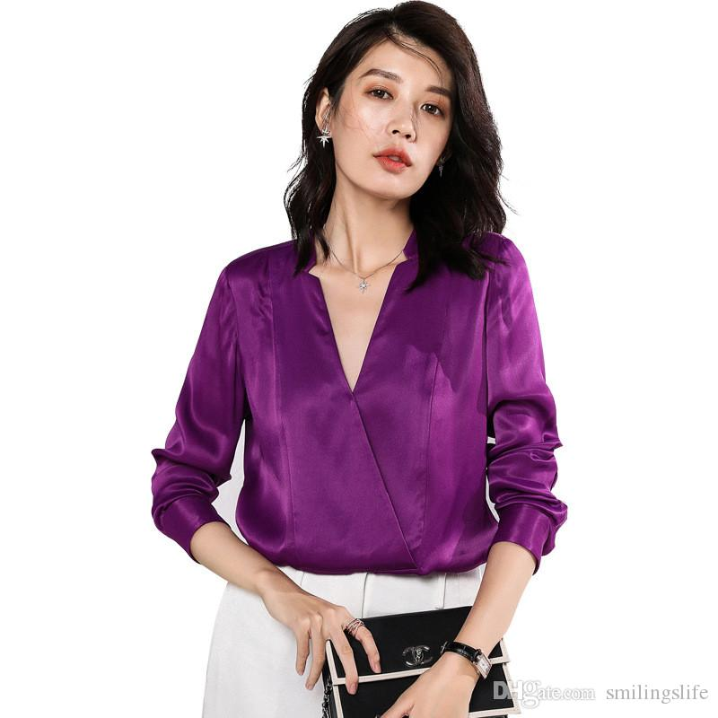 34652a9dd738e 2019 Women Silk Blouses Temperament Long Sleeve Fashion V Neck 16mome  Purple Shirt Women High Fashion Silk Satin Blouse Double Cuffs From  Smilingslife