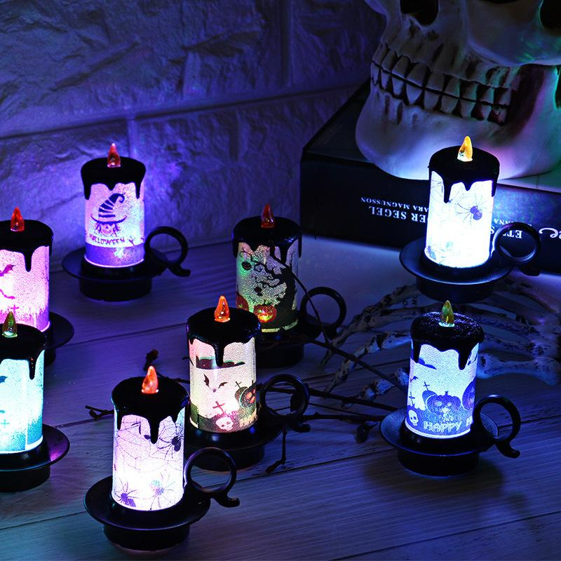 5pc/set New Arrival Halloween Decorative Props LED Electronic Candle Lamp Table Decoration With Button Batteries Christmas Light