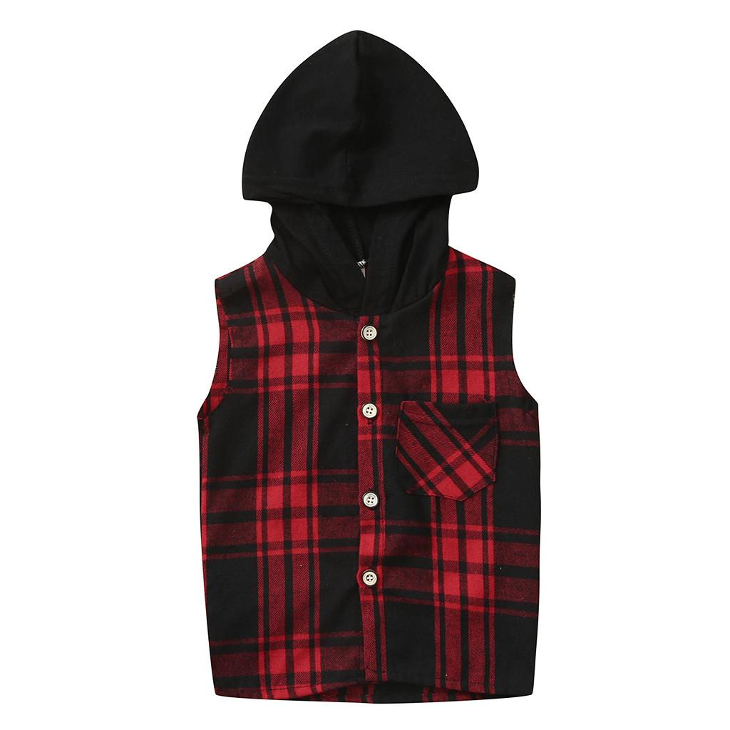 Summer Kids Baby SleevelessT-Shirt Outfits Toddler Baby Boy Red Plaid Hoodie Tops Hooded Tee Tracksuit #BL2