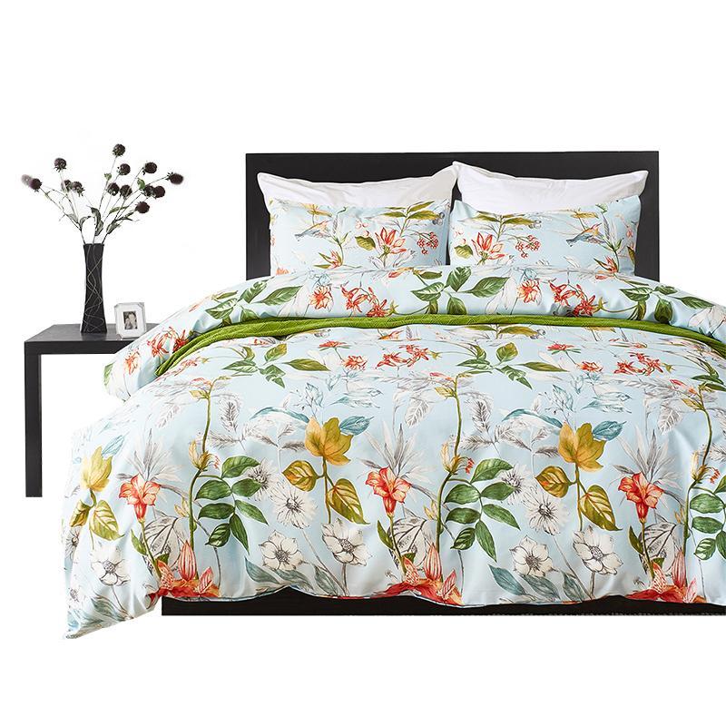 Bedding Set Green Duvet Cover Set Floral Print Pastoral Luxury Adult