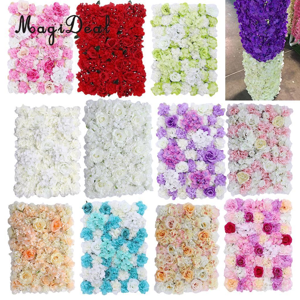 Upscale Artificial Flower Wall Panels Wedding Venue Flower Backdrops Background Pillar Main Road Decor C18112601