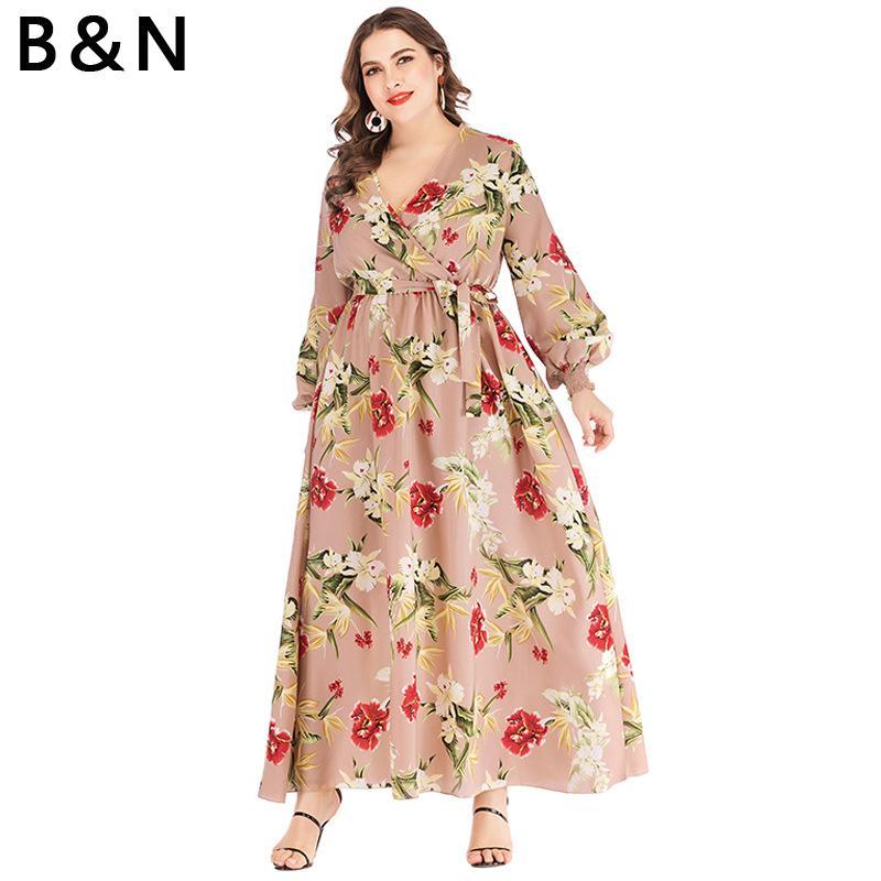 B\u0026N XL,6XL Floral Print Dress Women Cloth Summer Long Dress Ankle Floor  Flower V Neck One Piece Sashes Long Sleeve XXXXXXL Size