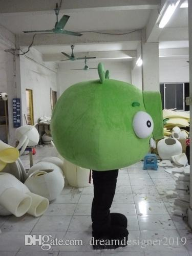 Halloween stupid big pig Mascot Costume Top Quality Cartoon Green Pig Anime theme character Christmas Carnival Party Costumes