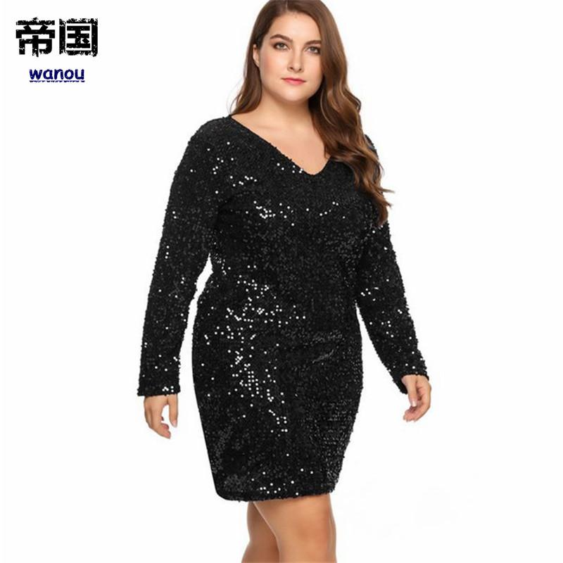 Women Dress Plus Size Sexy Deep V-Neck Long Sleeve Sequined Bodycon  Cocktail Club Sheath Loose Ladies Wedding Party Evening Dresses Plus Size Dress  Sequin ... e20f263150a3