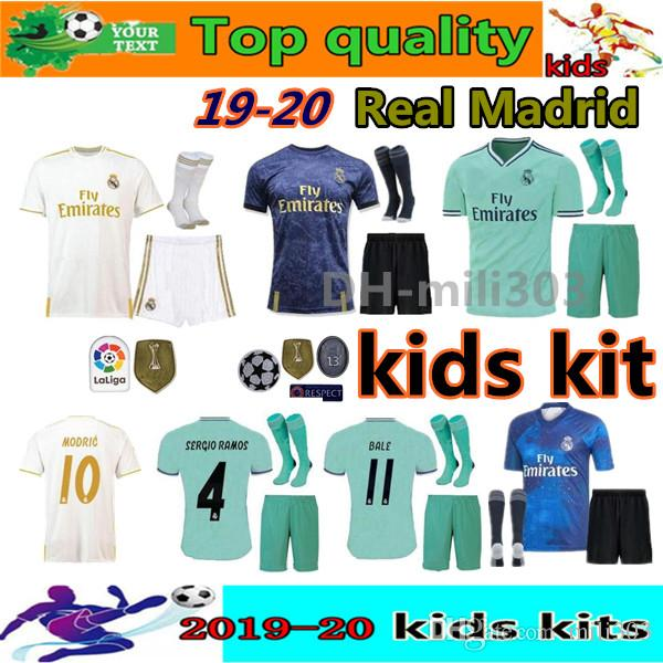 info for f3abd dda9b 19 20 Real Madrid Soccer Jersey New kids kits with socks 2019 2020 madrid  EA Sports child kit VINICIUS JR MODRIC BALE kids Football shirts