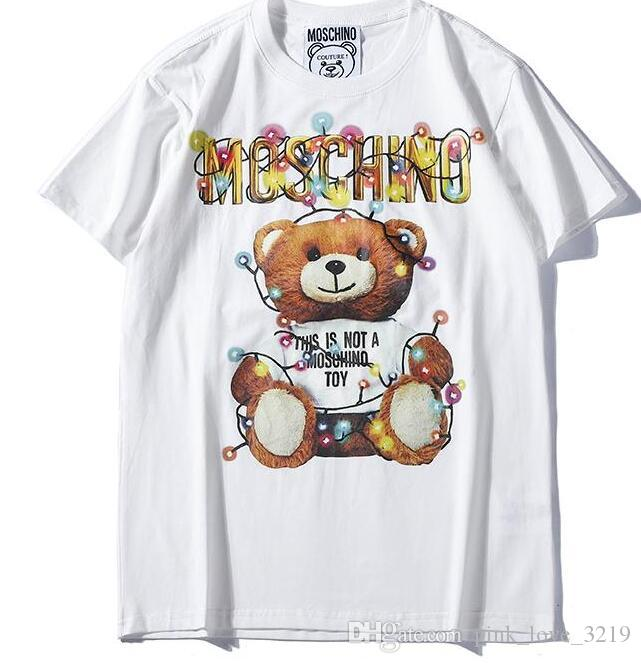 2019 Summer New Moschin O Tee Cotton Short Sleeve Breathable Men Women Moschinos Swing Bear Casual Outdoor Streetwear T-shirts