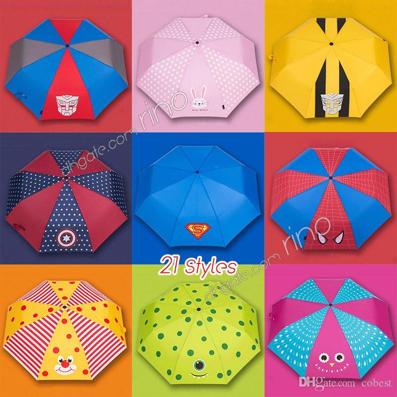 30f0cf655bd97 Kids Cartoon Umbrella Girls Boys Lovely Folding Portable Design Umbrella  Spiderman Rabbit Lion Uv Umbrella Sun Rain Gear 21 Styles Baby Raincoats  Rain Suit ...