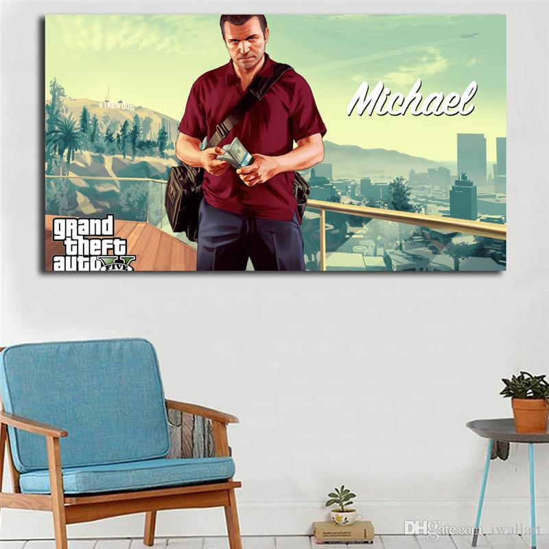 Grand Theft Auto V Game Oil Painting Canvas Posters Prints Wall Art Painting Decorative Picture Modern Kitchen Bedroom Home Decoration
