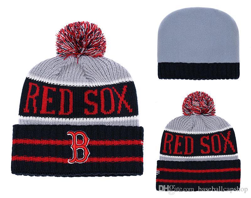 NEW Men S Boston Red Sox Knitted Cuffed Pom Beanie Hats Striped Sideline  Wool Warm Baseball Beanie Cap Men Women Bonnet Beanies Skull Hat Baby Hat  Crochet ... 53281e27bfe