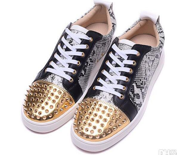 New 2019 wholesale mens gloden spikes toe with snakeskin leather red bottom low top sneakers,designer brand genuine leather flat causal T05