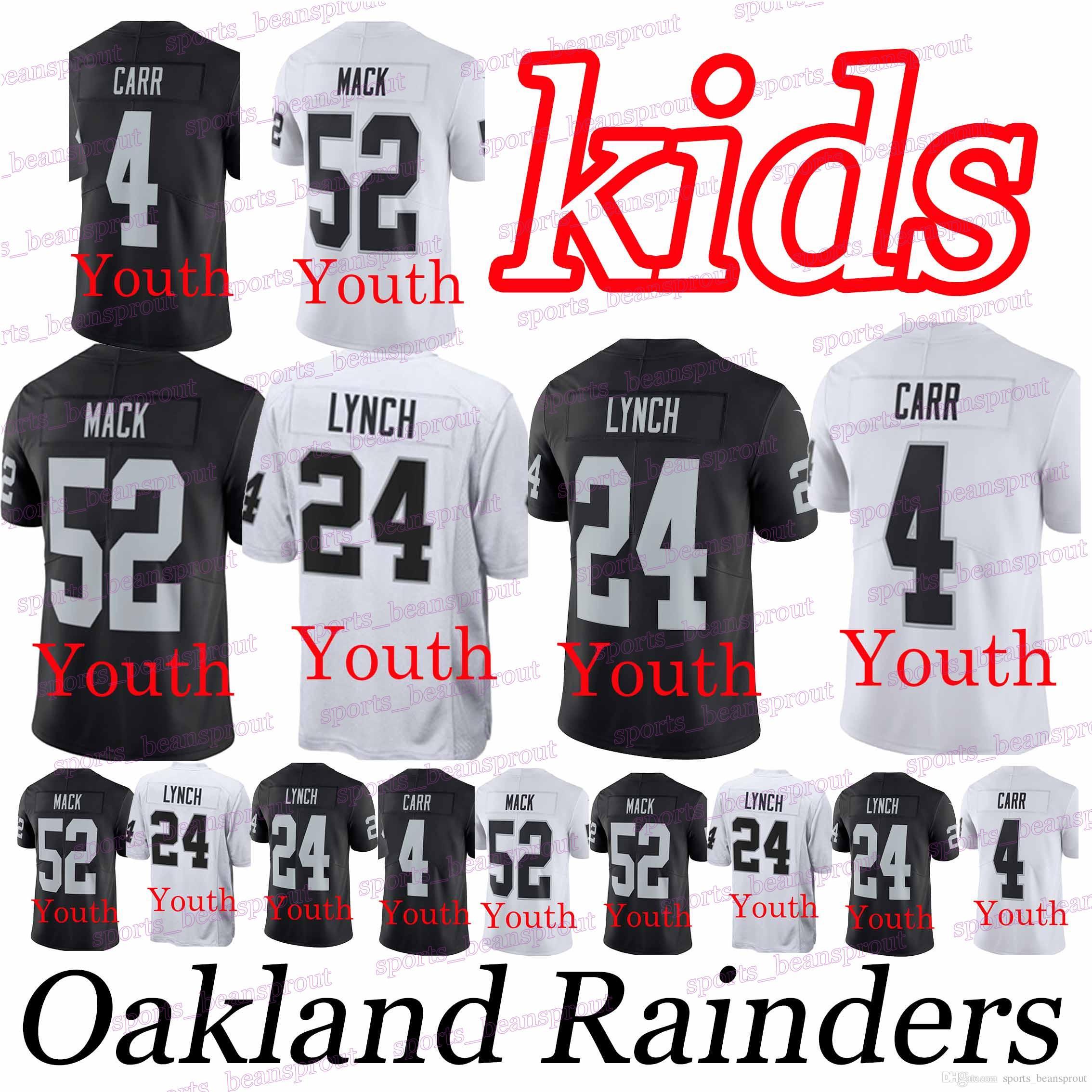 timeless design f638a 9641f YOUTH Oakland Rainders jerseys 24 Marshawn Lynch 52 Khalil Mack 4 Derek  Carr Hot Sale High-quality tracksuit jersey