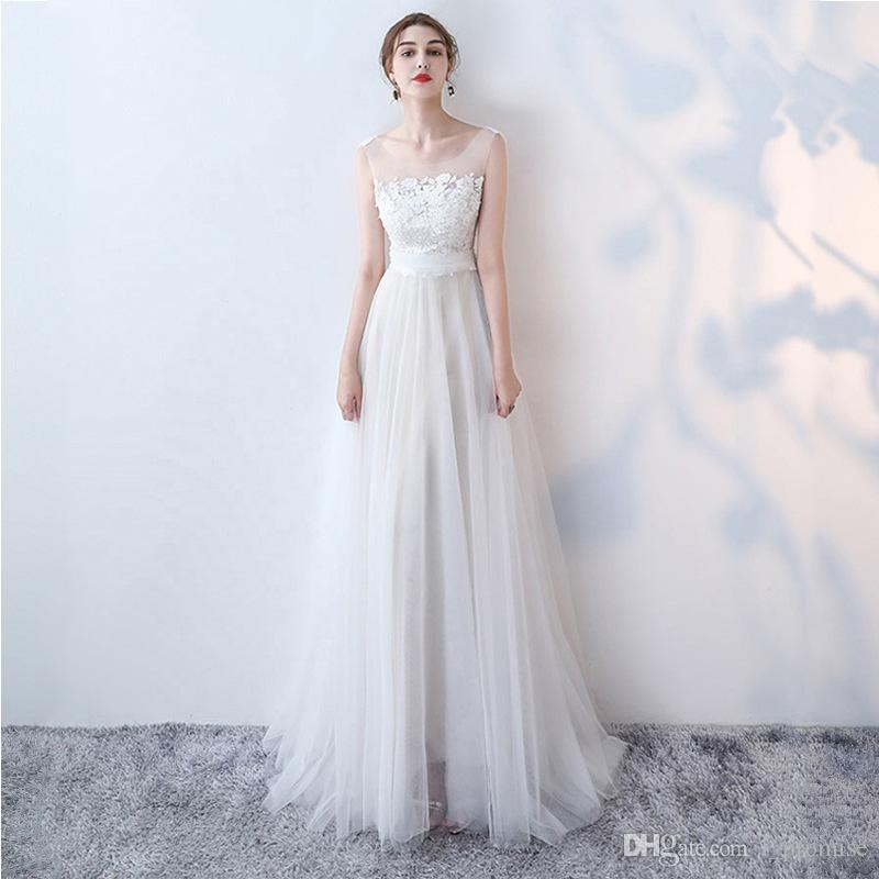 85586e02cb 2019 Sexy Long Prom Bridesmaid Dresses Sheer Neck Empire Evening ...