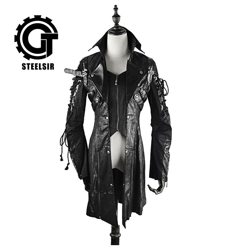 HOT!! Sorcerer Hooded Cloak Coat Men Jacket Long Trench Unisex Look  Halloween Costume Male Stage Prom Party Business Court Dress