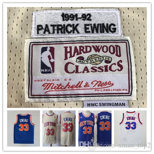 Mitchell   Ness Retro Knicks 33 Patrick Ewing Jerseys Stitched Hardwood  Classic Mesh Patrick Ewing Retro Knicks Blue White Basketball Jersey Long  Sleeve ... 687d4cece