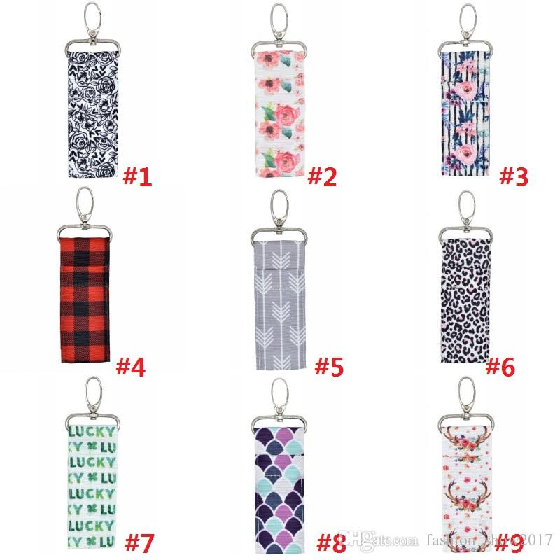 Women Lipstick Holder Cross Ripple Colorful Printed Patterns Chapstick Lipstick Holder Lip Balm Keys Rings Pouch Keychain Bags