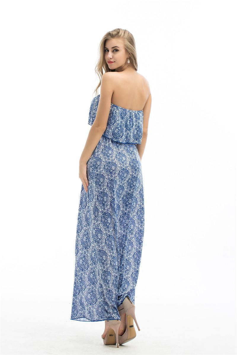 Çiçek Baskı Kadınlar Grace Uzun Elbise Kolsuz Kapalı Omuz Yaz Uzun Maxi Elbise Boho Çiçek Maxi Long Beach Elbise