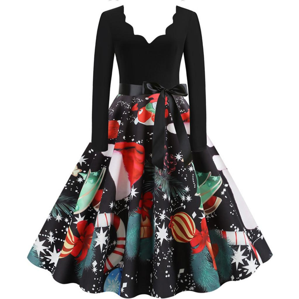 Fashion Christmas dress women Long Sleeve Christmas Musical Notes Print Vintage Flare Dress robe pull femme hiver#G1