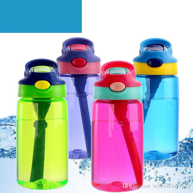 Newest 450mL Kids Autospout Water Bottle 15oz Plastic Autoseal Children Drinking Bottles Students Handle Tumbler with Straw Lids