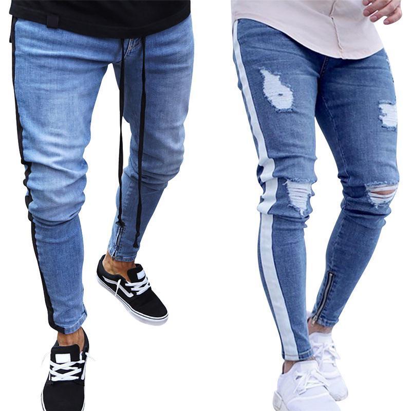 3757190ab 2018 Nuevos pantalones vaqueros rasgados para hombres Slim Biker Zipper  Denim Jeans Skinny Frayed Pants Pantalones Rip desgastados azul a rayas