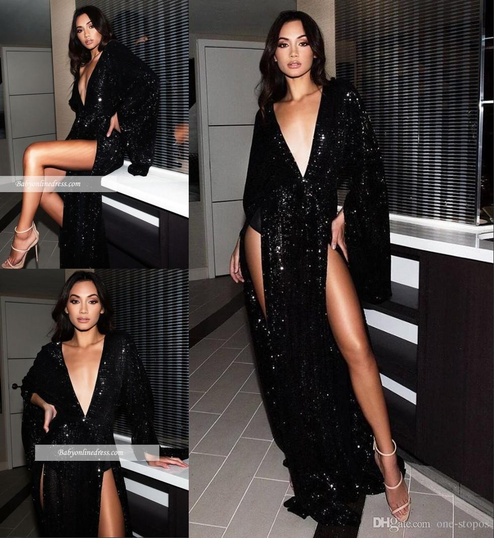 ff96455759 2019 New Sequins Prom Evening Dress Sexy Black Side Slit Long Formal Party Gown  Deep V Neck Pageant Dresses Custom Made Gothic Prom Dress Halter Top Prom  ...