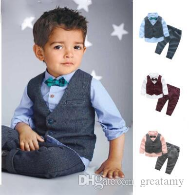 d9ddaef3f 4pcs lot Boy clothing fashion toddler kids boys gentleman sets jacket shirt  pants bow tie set baby children suits outfit