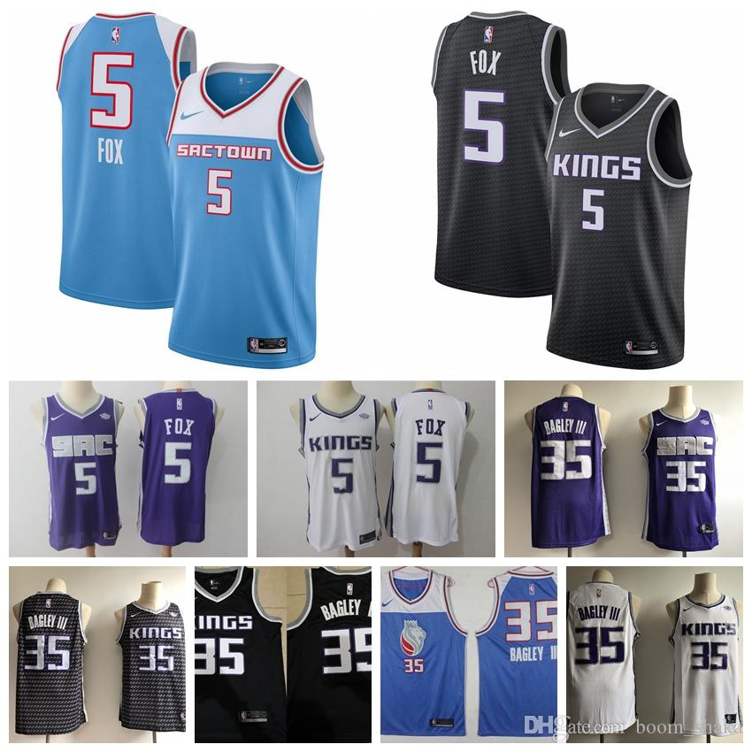 2019 2019 New The City Edition Blue 5 De Aaron Fox Jersey Mens 5 De Aaron  Fox 35 Marvin Bagley III Basketball Jerseys Purple White Black From  Jerseys space 93cdc9806