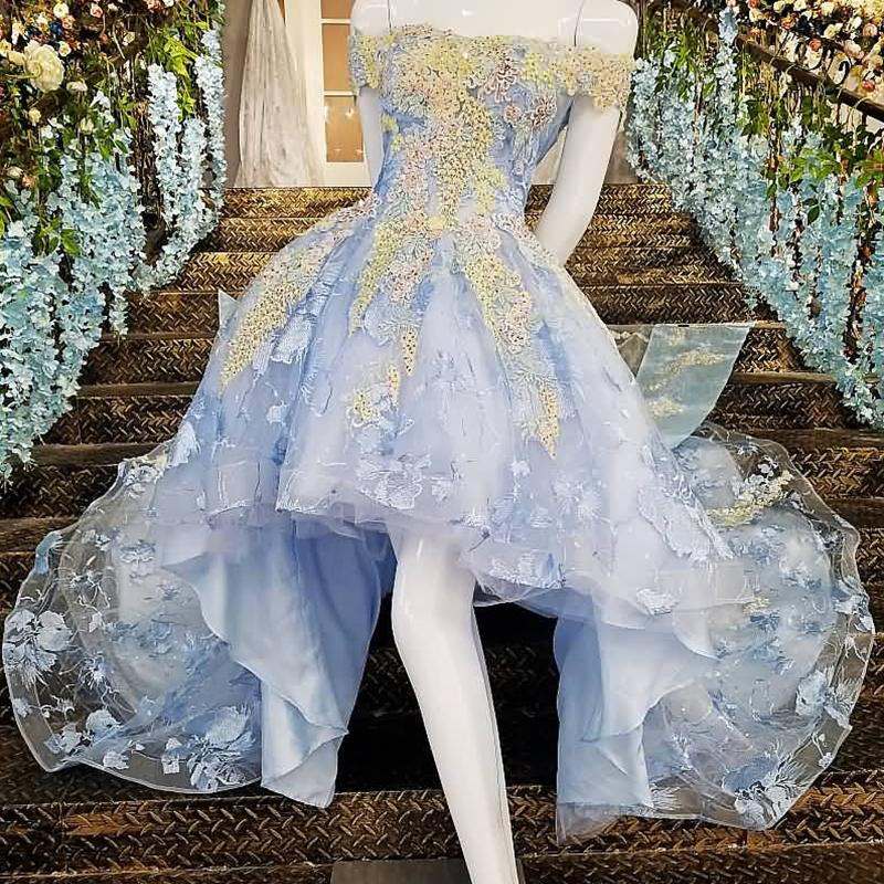 9471386cfcd 2019 Lebanon Short Front Long Back Prom Dresses Lace Up Back Short Sleeve  Tulle Train 3D Floral Applique Jewel Neck Masquerade Evening Gowns Gothic  Prom ...