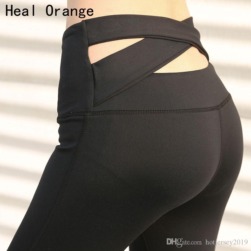 1f76cfd3a0 HEAL ORANGE High Waist Yoga Leggings Cross Back Training Pants ...