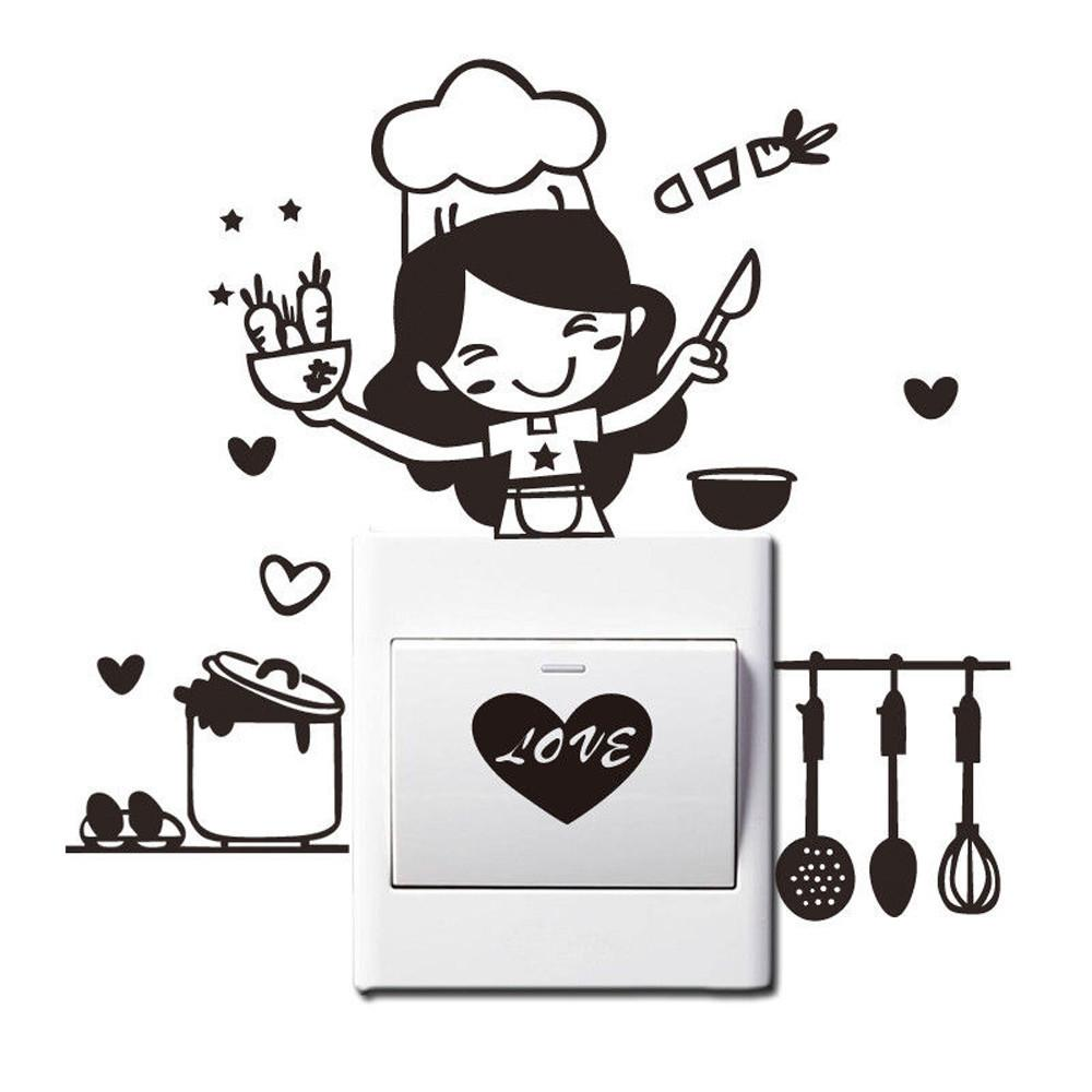 Kitchen light sticker cute cook vinyl wall decal home decor switch stickers decorative switches for living room bedroom walls decals walls stickers from