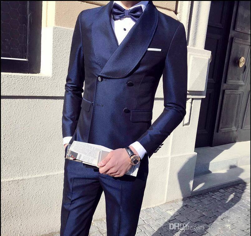 Double Breasted Color Burgundy and Royal Blue Taffeta Fabric Men Suits Three Pieces (Blazer+Pant+) Wedding Bridegroom Tuxedos