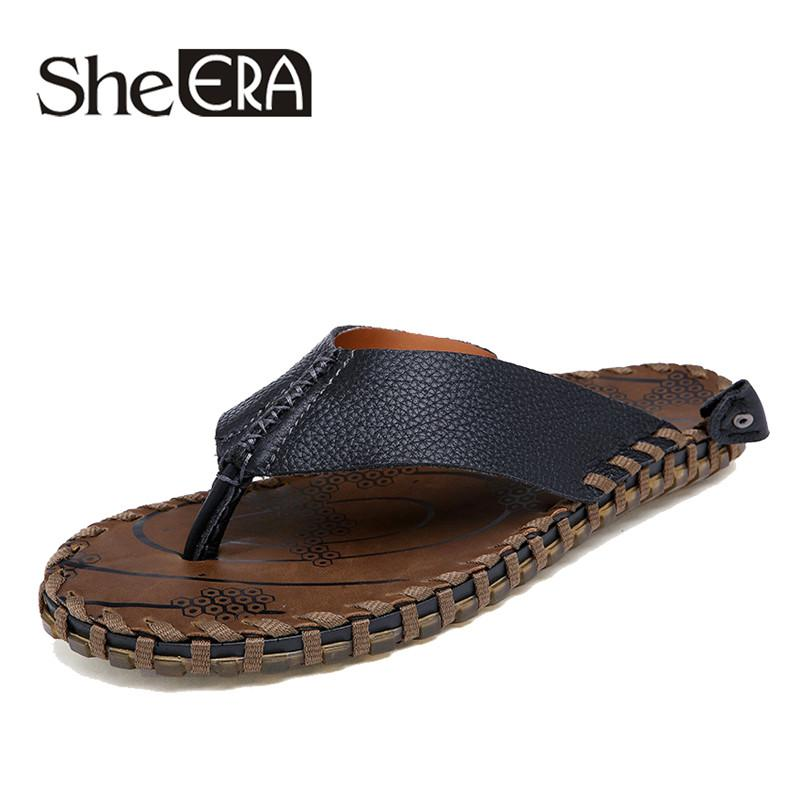 253e8159c67e 2019 New Brand Men S Flip Flops Casual Leather Slippers Summer Fashion  Beach Sandals Non Slip Shoes For Men Zapatos Hombre Mens Sandals Reef  Sandals From ...