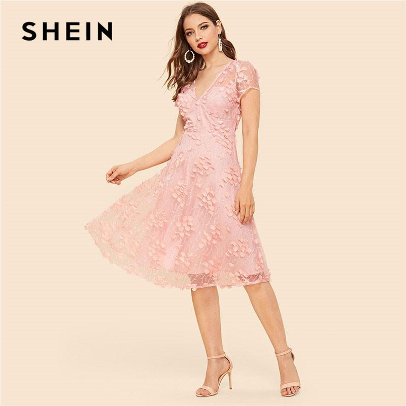 f30ed69a31 SHEIN Pink Floral Appliques Mesh Overlay Knee Length Dress Deep V Neck  Short Sleeve Ladies Summer Sweet Going Out Dresses Summer Dress Women Black  And White ...