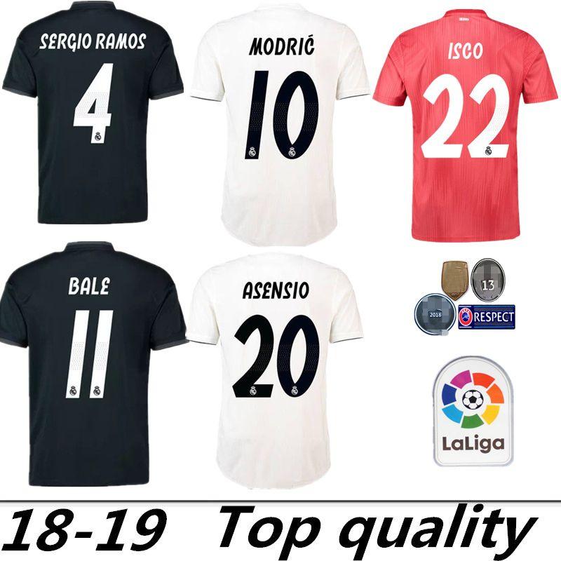 2d606b44d04bc S 2XL Camiseta Del Real Madrid 2018 2019 MODRIC MARIANO ASENSIO VINICIUS JR  BALE RAMOS 18 19 Camiseta De Fútbol Del Real Madrid ISCO Por Zxc503