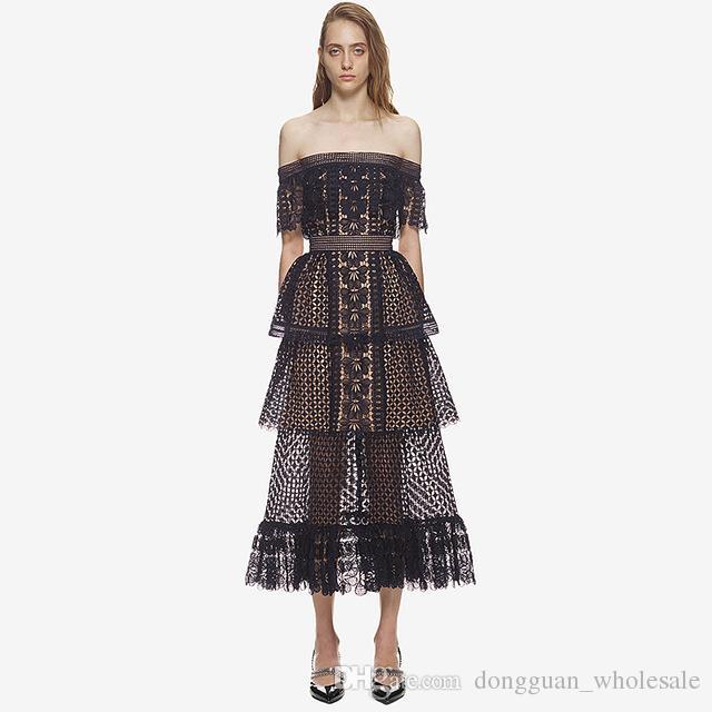 75d4f44c527d Summer Women Runway Ruffled Lace Dress Crochet Hook Flower Mid Calf A Line  Slash Neck Dress Cheap Dress Evening Dresses With Sleeves From  Dongguan_wholesale ...