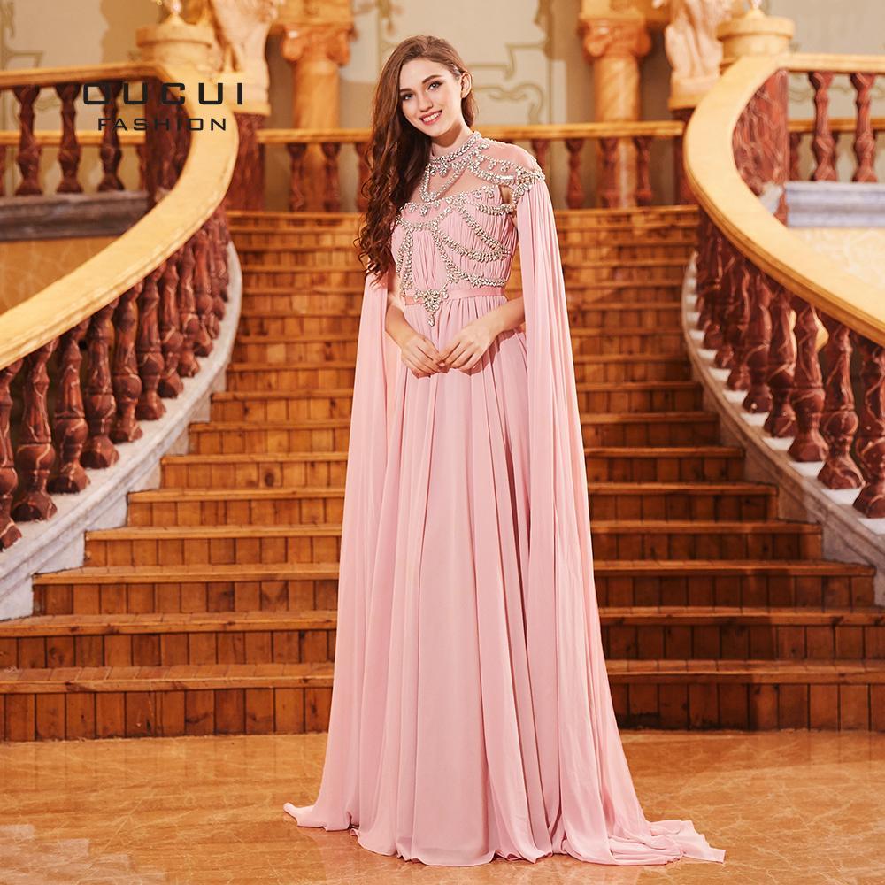 9047be647f0d9 Saudi Arabia Design Long Evening Dress With Cape Chiffon Muslim Prom  Dresses Crystal High Neck Formal Robe Soiree 2019 Ol103131 Y19042701