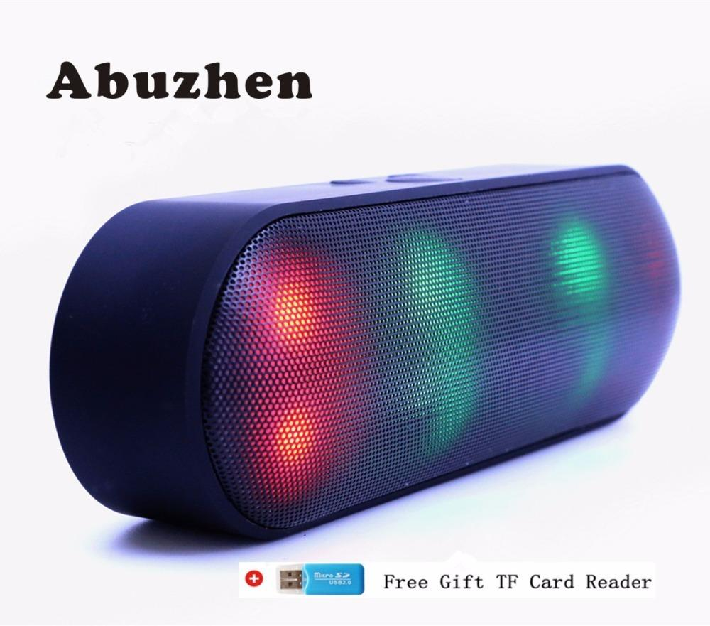Abuzhen Bluetooth Speaker Led Portable Wireless Speaker Mini Sound System 3d Stereo Music Mp3 Player Surround Support Tf Aux Usb C19041601